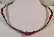 "Bead Necklace Round Spherical Discs 16"" Handmade African Choker Metal Red"