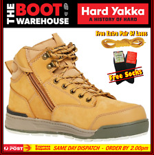 Hard Yakka 3056 Y60200 Work Boots. WHEAT. Steel Cap Safety. Lace-Up & Zip Side