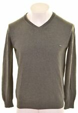 LACOSTE Mens V-Neck Jumper Sweater Size 4 Small Grey Cotton  KY07