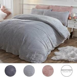 Brentfords Warm Waffle Fleece Duvet Cover with Pillowcase Soft Cosy Bedding Set