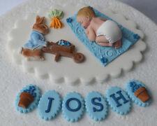 Edible personalised Peter Rabbit Christening/Baptism cake topper/decoration