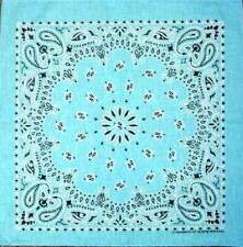 "New 22"" Light Blue Paisley Bandana Handkerchief Scarf 100% Cotton Made In USA"
