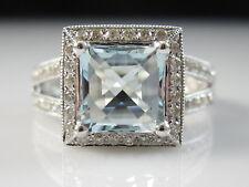 14K Aquamarine Diamond Ring White Gold Fine Jewelry Halo Split Shank Size 6.5