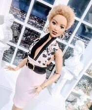 OOAK Curvy Barbie size Pale Pink n Black floral cocktail dress ensemble!  LAST1!