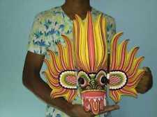 "Sri Lankan Devil Fire Mask Asian Handmade Wood Wall Home Art Decor Sculpture 16"""