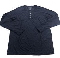 Mack Weldon Warmknit Waffle Long Sleeve Henley Shirt size: XL Heathered Blue