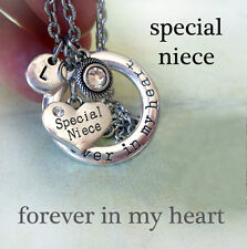 Special Niece Forever In My Heart Necklace w-Swarovski Birthstone & Letter Charm