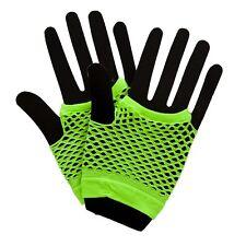 NEW Neon Colour Net Gloves - 80's 1980's Festival Wicked Fancy Dress Accessories