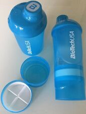 2 Eiweiß Shaker Blau Transparent BioTech USA Wave+ m.Sieb 600/200/150 ml Füll..