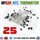 25pcs 10k OHM NTC MF52AT 3950 Thermistor Resistor NTC-MF52AT MF52 10K + -5% USA