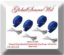 "Blue 4 Rolls x 2"" 50Ft Exhaust Wrap Manifold Header Pipe Heat Wrap + 20 Ties Kit"
