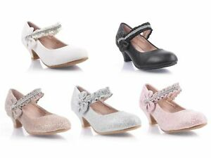 5 Color Girls Glitter Bowknot Rhinestones Kids Kitten Heels Youth Dress Shoes