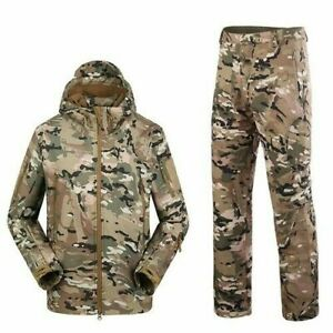 Mens Outdoor Waterproof Hooded Jackets Tactical Pants Hiking Sports Army Suits