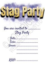 1-100 PACK STAG DO PARTY INVITATIONS & Envelopes Stag Night Blue Gold Invites
