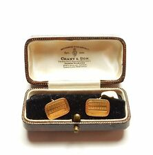 Cufflinks vintage 18 carat gold Maker JW boxed c1920 Art deco