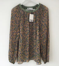 Zara XXL Blouse Plisse Floral NEW Long Sleeved Chiffon Lined