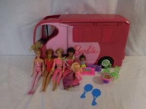 Barbie Sisters Go Camping Pop-up Pink RV Camper By Mattel 2010 + 1999 Dolls +