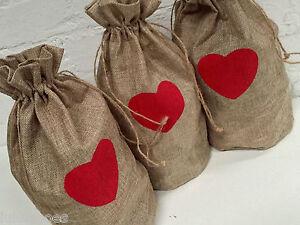 JUTE HESSIAN BURLAP BAGS - jute gift bag heart christmas 35x15cm- LARGE gift bag