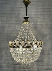 Antique Vintage Brass & Crystals French Empire Chandelier Lighting Ceiling Lamp