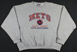New York Mets Vintage 90's Logo Athletic Embroidered Crewneck Sweatshirt 2XL