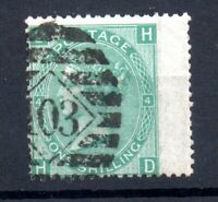 GB QV 1/- green SG117 Plate 4 good Wing Margin used WS17722