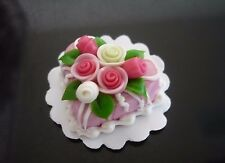 Pink Heart Cake Rose Top Dollhouse Miniatures Food  Valentine Day