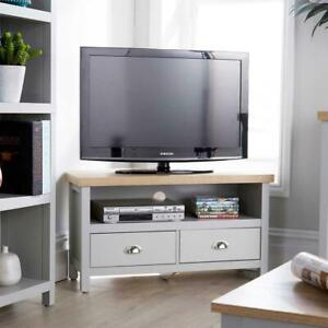 Grey Oak Corner TV Stand Two Tone 1 Drawer Cabinet Television Unit Cable Tidy