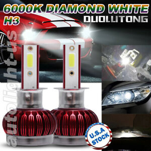 2x H3 LED Headlight Conversion Kit COB LED Fog Light Bulb 100W High Power Bright