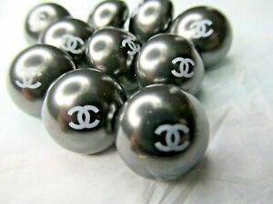 CHANEL 💯 ❤️❤ 6 GRAY PEARL  BUTTONS 14MM  , cc logo, WOW💯 ❤️💯 ❤ LOT 6