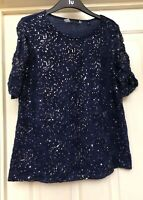 Dorothy Perkins Navy Sequin Top Size 14