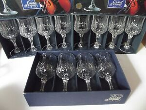 """(12) Water Goblet Glasses 7-1/4"""" wine Crystal Longchamp Cristal D'Arques Boxed"""