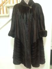 Plus Size Natural Mahogany Female Mink Fur Coat, Size XL