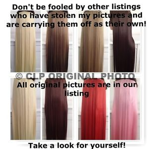 """UK SELLER Straight Synthetic Clip in Hair Extensions 24"""" Half Head Thick Long"""
