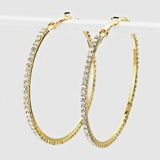 Clear diamante Hoop earrings sparkly rhinestone party prom clubbing 0346-GCL-L