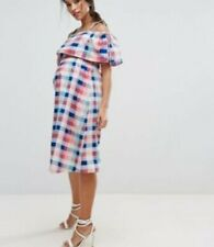 ASOS Maternity Checked Blue Pink Dress Size 12