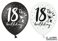 10 PALLONCINI 18 ANNI BIRTHDAY NERI BIANCHI COMPLEANNO PALLONCINO BALLOONS FESTA
