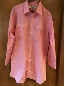 MESQUITE by NIVER WESTERN USA COWBOY PEARL SNAP UP SHIRT Sz 18 35 Red Stripe