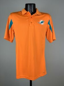 Men's Majestic Cool Base Orange Miami Dolphins Polyester Short-Sleeve Polo Small