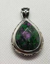 Green & Purple Stone Silver Necklace Pendant