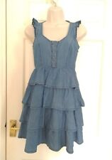 Miss Selfridge Petites denim tiered ruffle summer dress UK 4 BNWT