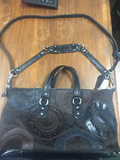 USED COACH Purse BROWN BLACK GENUINE AUTHENTIC hand bag good condition