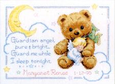 Cross Stitch Kit ~ Dimensions Cuddly Bear & Angel Baby Birth Record #13591 OOP
