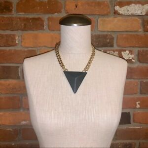 Black Leather Pyramid Necklace On Gold Chain Costume Jewelry