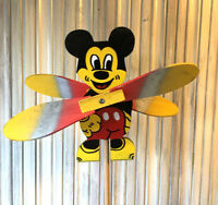 Wooden Windmill Mickey Mouse Wind Spinner Whirligig Folk Art Hand Painted 25cm