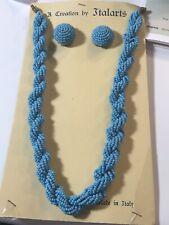 Braided Neckace Earring Set Italy Midcentury Retro Italarts Turquoise Seed Bead