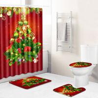 Christmas Shower Curtain Bathroom Rug Set Bath Mat Non-Slip Toilet Lid Cover