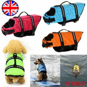 Dog Life Jacket Buoyancy Aid Pet Swimming Boating Reflective Safety Vest Suit UK
