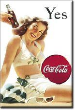 "2"" X 3"" COCA COLA YES LADY IN BEACH ATTIRE REFRIGERATOR MAGNET NEW"