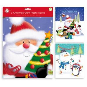 Pack of  2 Giant Large Plastic Christmas Santa Sacks Gift bags