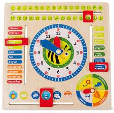 Lerntafel Datum, Uhr- & Jahreszeiten Deutsch Lernspiel aus Holz für Kinder Neu